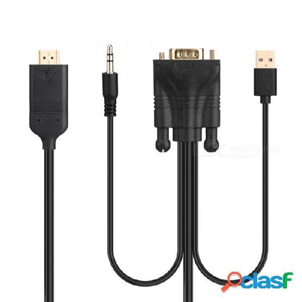 Cable vga a hdmi con adaptador de audio a video convertidor adaptador de cable usb hd a la fuente de alimentación