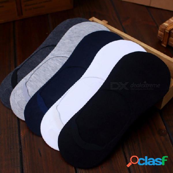 Calcetines casuales de algodón de los hombres ocasionales, calcetines invisibles breves calcetines antideslizantes de la boca de silicona masculina (5 pares) multi