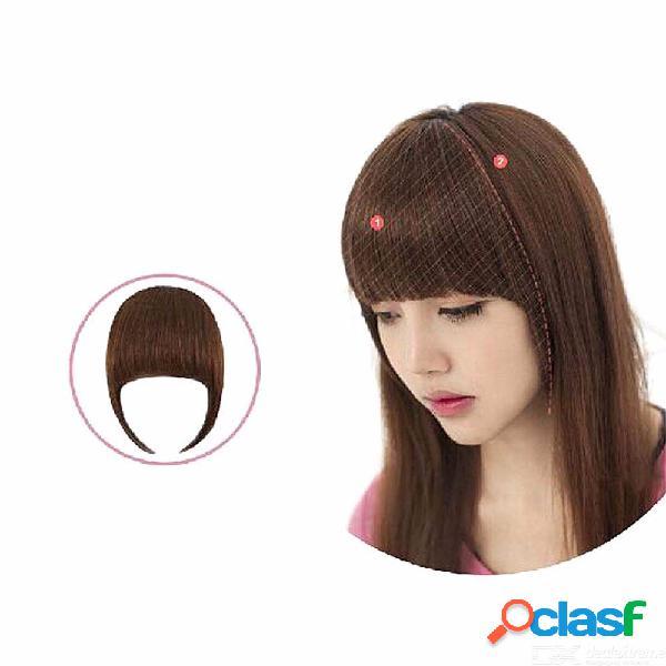 Extensiones de flequillo falso para chicas. clip en flequillo contundente. cabello sintético de aspecto natural sin costuras.
