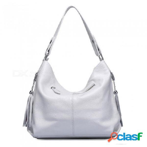 Moda suave borla de cuero genuino bolso de las mujeres del bolso del mensajero del totalizador del bolso del mensajero de las mujeres negro blanco negro