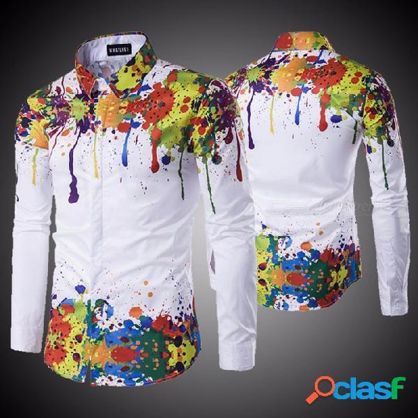 Nueva moda hombres camisa de manga larga 3d splash impresión de tinta camisas para hombres casual más tamaño camisa de los hombres blanco / m