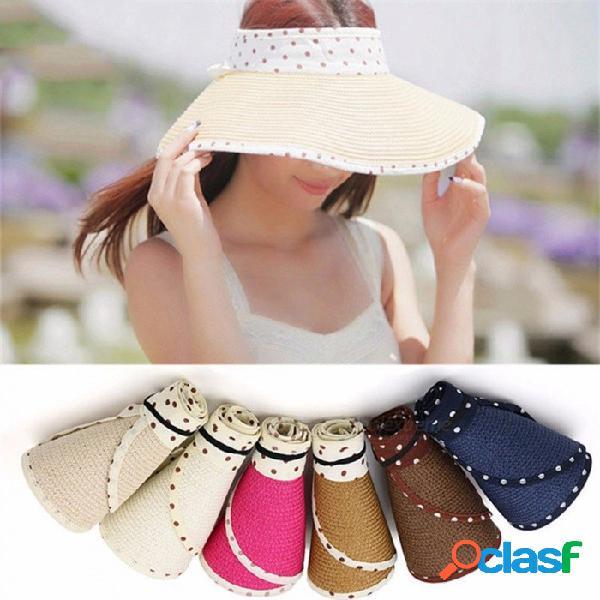 Verano vacío bowknot punto rafia sombrero de paja coreano sombra casual protector solar playa sol sombreros de color caqui