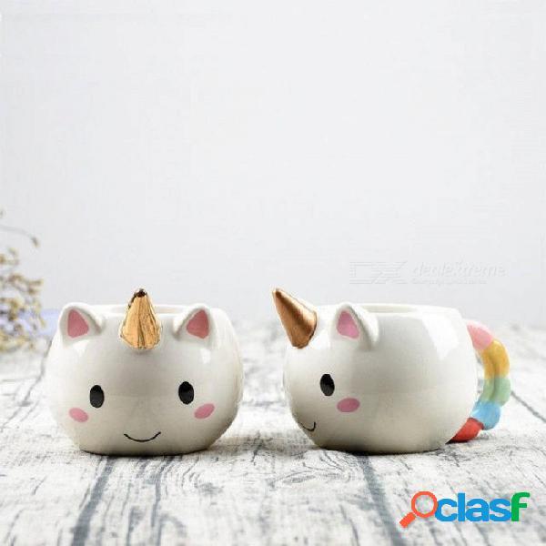 300 ml taza de unicornio 3d creativo de cerámica café taza de té de dibujos animados lindo unicornio tazas novedad regalos taza de leche de porcelana para oficina cobre