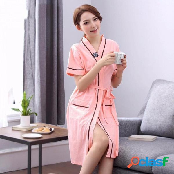 Estilo largo camisón de algodón de manga corta bata de verano pijamas para las mujeres vestido de gran tamaño túnica rojo coral / xxxl