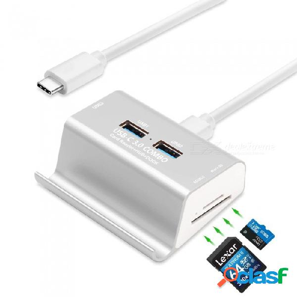 Medible t-698c usb tipo c a 3 puertos usb 3.0 otg hub + sd, lector de tarjetas tf + soporte para teléfono