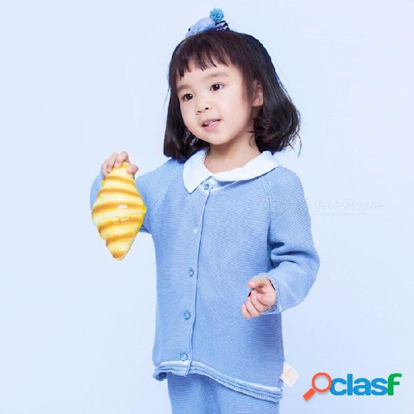 Otoño invierno algodón suéter top bebé niños ropa niño niñas punto cardigan suéter niños primavera ropa gmw7102 cielo azul / 6m