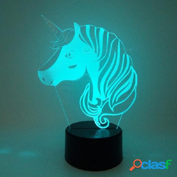 3d luminaria creativa unicornio led lámpara de mesa linterna 7 cambio de color noche luz de la lámpara led de dibujos animados usb luces cambiables / claro / 3w