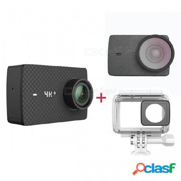 Edición internacional xiaomi yi 4k + kit de cámara deportiva negro + estuche impermeable + lente uv, cuero