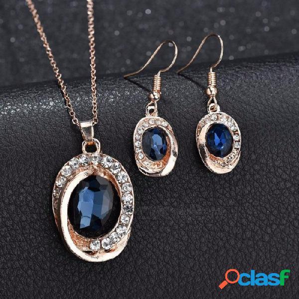 Forma ovalada diamantes de imitación decoradas gema encanto colgante collar pendientes conjunto, collar de cadena de oro rosa joyería femenina