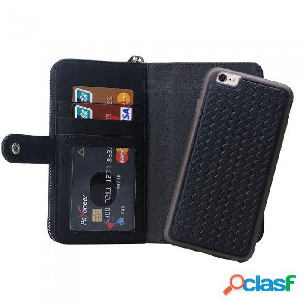 Funda de billetera para teléfono móvil de gran capacidad cooho funda de cuero con cremallera para iphone 6