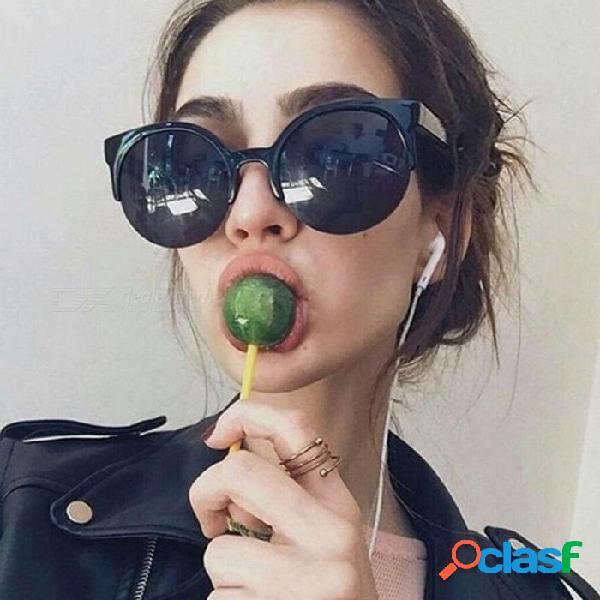 Gafas de sol de moda cat eye para mujer gafas semi-sin montura vintage gafas de círculo redondo gafas de sol