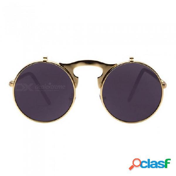 Gafas de sol redondas diseñador steampunk metal mujeres recubrimiento gafas de sol hombres círculo retro gafas de sol ao5all negro