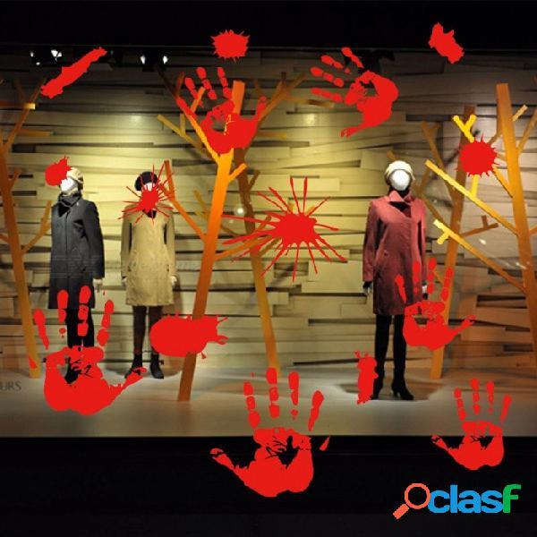 Halloween huellas de la mano roja etiqueta de la pared, decoración del partido en casa de miedo diy sangrienta palm huella extraíble pegatinas rojo