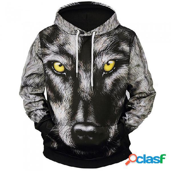 Lm807002 # otoño invierno moda lobo cabeza impresión digital hombres / mujeres con capucha sudaderas con capucha chaqueta cortaviento chaqueta 3d sudaderas - m
