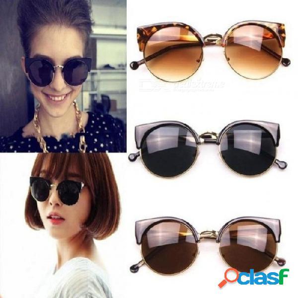 Moda vintage cat eye sunglasses mujer diseñador retro super round circle semi-sin montura gafas de sol gafas
