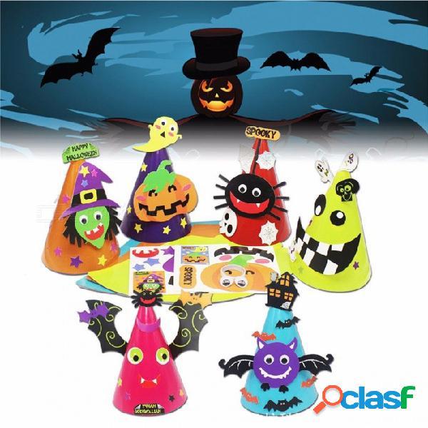 Papel de halloween juego de niños diy papel hecho a mano sombrero de murciélago fiesta de calabaza sombreros gorras vestido de fiesta favorece el regalo de halloween naranja