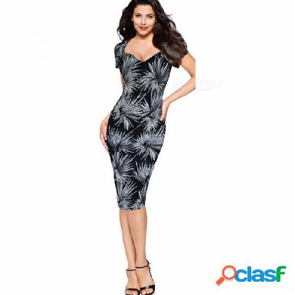 Vestido de verano con estampado floral con cuello en v y mangas cortas, vestido ajustado ajustado para mujer negro / xxl