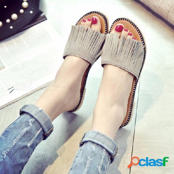 Zapatillas de mujer zapatos de mujer planos deslizamiento de playa en diapositivas chanclas sandalias flecos borla de cristal zapatilla para mujer gris / 35
