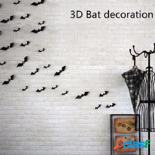 12 unids decoración de fiesta de halloween negro diy papel de pvc, pegatinas de pared de murciélago 3d, diseño de escena de murciélago fantasma suministros negro