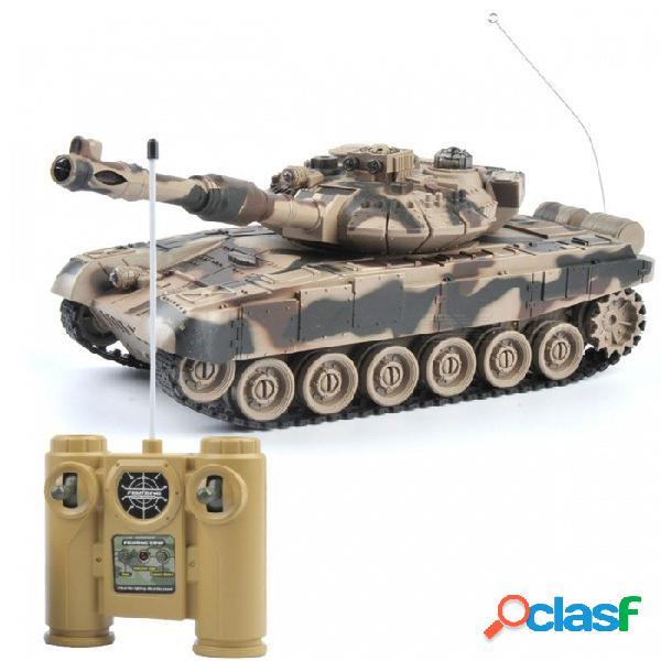1:20 9ch 27mhz tigre de batalla de control remoto infrarrojo t90 cañón rc juguete del tanque para niños - amarillo