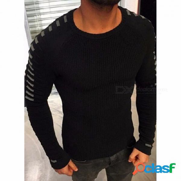 2018 nuevo suéter de los hombres de invierno suéter de cuello redondo de color sólido de manga larga juvenil suéter suelto - negro