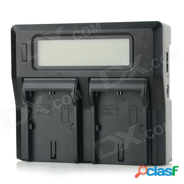 """3.1"""" lcd dual de baterías lp-e6 cargador para canon eos 5d mark ii, 60d / 6d / 7d / 5d mark iii - negro"""