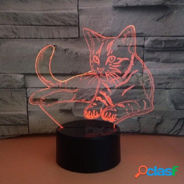 3d gato noche luces lámpara animal 7 color lámpara de mesa táctil 3d ilusión para regalos juguetes led luz de la noche cambiables / claro / 0-5w