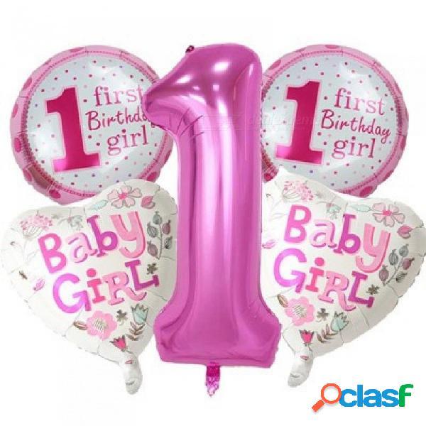 5 piezas de bebé globos de 1er cumpleaños conjunto rosa número azul globos de papel de aluminio decoraciones de la fiesta de cumpleaños suministros de decoración para fiestas rosa