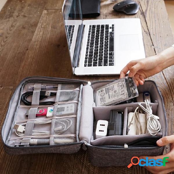 Bolsa de viaje organizadora de cables multifunción de gran capacidad, kit de almacenamiento de cable impermeable portátil negro