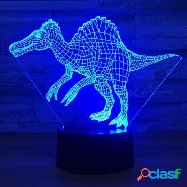 Dinosaurio spinosaurus led 3d luz nocturna visual dormitorio creativo decoración lámpara nocturna luces 3d cambiables / claras / 3w