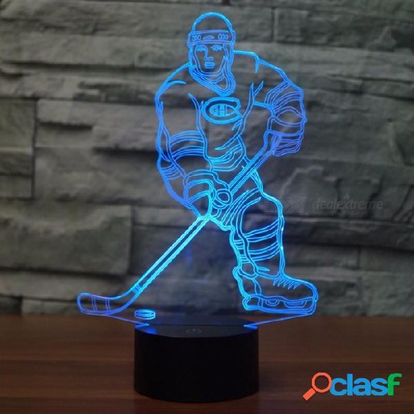 La luz led de la decoración de la lámpara de la ilusión 3d del jugador de hockey de 7 colores para la noche del escritorio de tabla se enciende con el cable del usb cambiable / claro / 3w