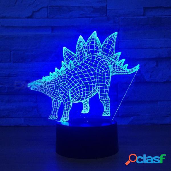 Nueva lámpara de mesa stegosaurus 3d luz visual 7 colores táctiles color led escritorio usb luces nocturnas cambiables / claras / 3w
