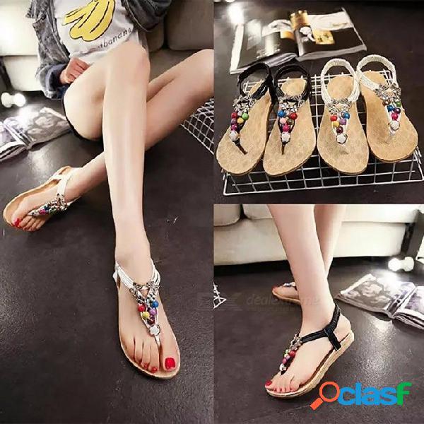 Sandalias planas de verano con cuentas dulces, sandalias de moda clip zapatos cómodos, zapatos de playa bohemio mujer negro / 36