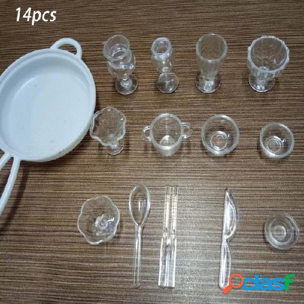 33 unids / lote plato taza plato tazón vajilla conjunto de casa de muñecas en miniatura de juguete muñeca comida cocina salón accesorios 1: 12 escala 13pcs