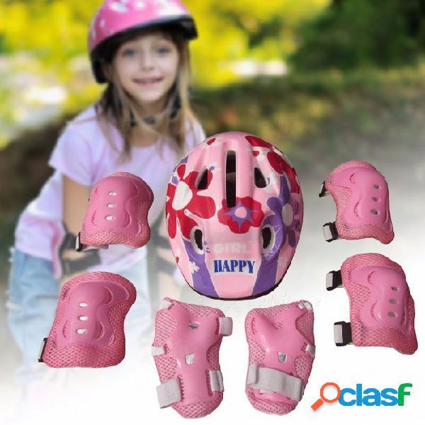 7 unids patinaje sobre hielo codo protector de la bicicleta bicicleta niño casco niño deportes de seguridad scooter ciclismo conjunto para 5-13 años de edad rosa