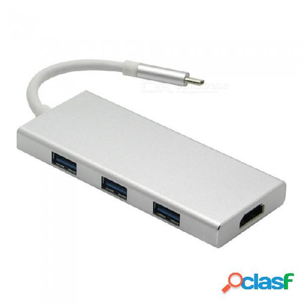 Concentrador usb tipo c, adaptador concentrador usb multipuerto 7 en 1 con salida hdmi 4k, puerto de carga usb-c, 3 puertos usb 3.0, tarjeta sd / micro