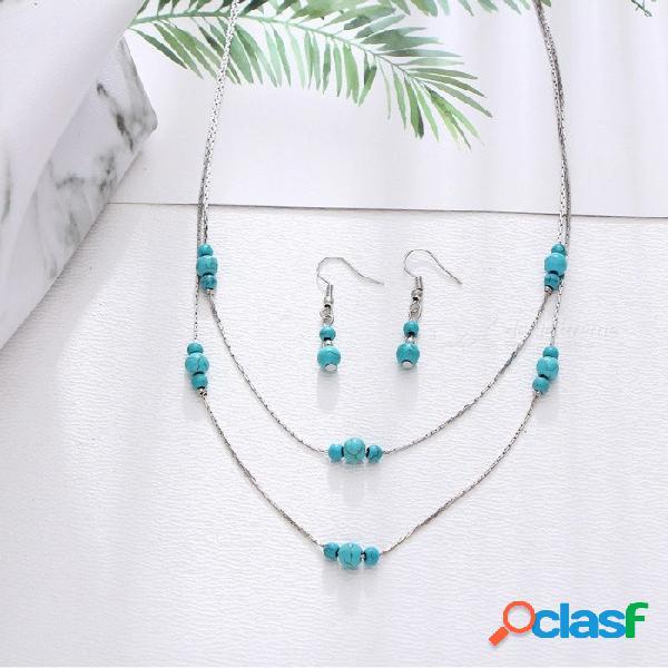 estilo turquesa redondo colgante collar de dos capas pendientes colgantes para mujer conjunto de joyas de plata