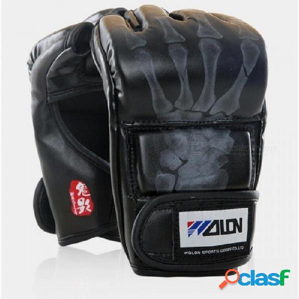 Guantes de mma de agarre guantes de boxeo pu bolsa de boxeo color negro / blanco opcional con material de cuero pu negro