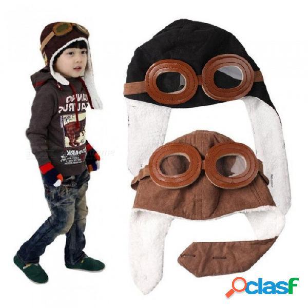 Nueva moda para bebés y niños pequeños niño niña bombardero sombreros niños piloto aviador gorro de lana cálido sombreros orejeras gorro