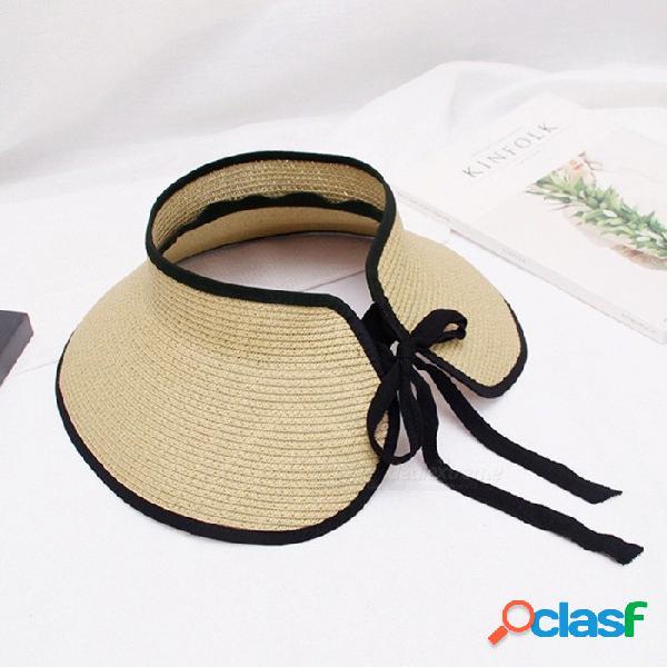 Primavera verano mujer tapa superior bowknot correa ajustable playa parasol gorra sombrero de ala grande