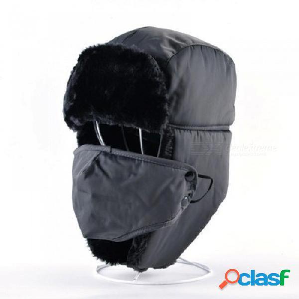Ushanka casquillo ruso de la piel sintética hombres sombreros de invierno orejeras faldas aviador sombrero de bombardero de nieve para las mujeres cálidas tapas de la tropa azul