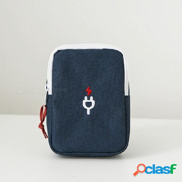 Bolsa de almacenamiento de cable de nylon con cremallera portátil, bolsa de viaje organizador de alambre cuadrado para cables y banco de energía portátil azul
