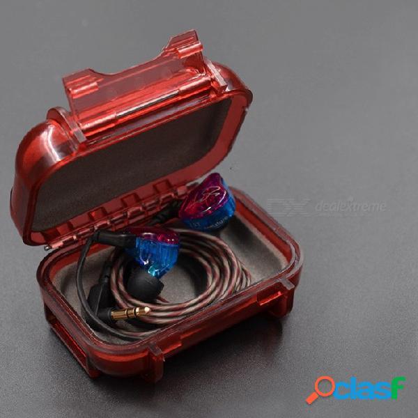 Caja de almacenamiento de cable abs impermeable kz, mini caja de almacenamiento portátil a prueba de sacudidas para el accesorio de auriculares negro