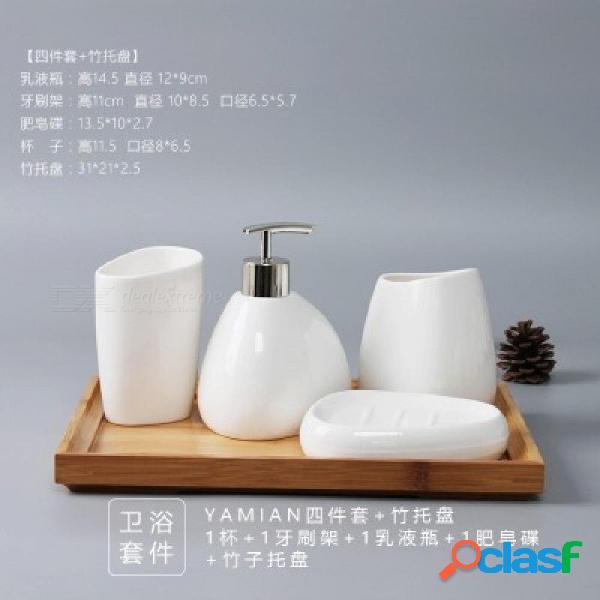 China set de seis piezas de cerámica accesorios de baño set dispensador de jabón / porta cepillos de dientes / vaso / jabonera productos de baño set de seis piezas