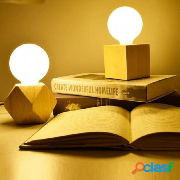 Lámpara de mesa de madera base libro luces e27 titular mini retro lámpara de cabecera moderno escritorio luz de noche lamparas para el dormitorio del hogar ue enchufe sin bombilla / us enchuf