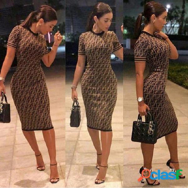 Nueva impresión de la letra cintura delgada cuello redondo vestido de punto estilo popular de impresión digital doble f de cercanías vestido de las mujeres multi