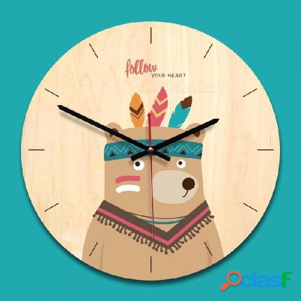 Reloj de pared de madera, animal doméstico de dibujos animados impreso decoración del hogar reloj silencioso redondo para sala de estar oficina de madera