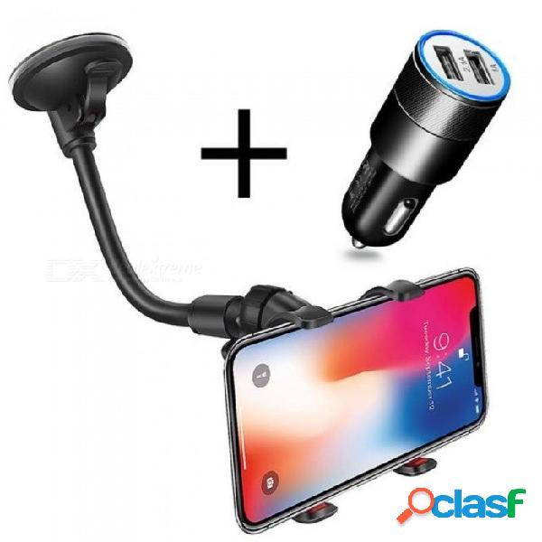 Soporte del soporte para el teléfono del coche soporte de 360 grados de rotación soporte universal para coche y cargador de coche para iphone iphone 8 x 7 6 s plus samsung huawei