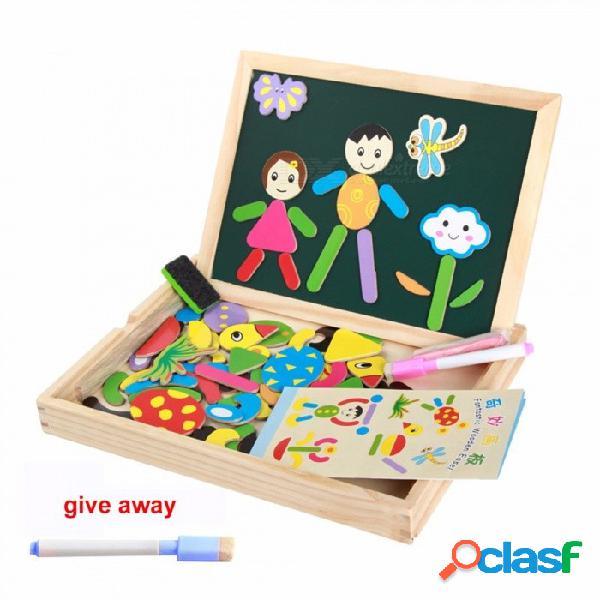Tablero de dibujo para niños rompecabezas de madera tableta magnética de doble cara con múltiples funciones portapapeles multicolor