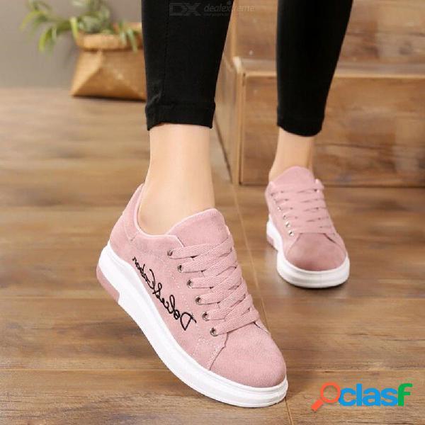 Zapatos de plataforma cómodos bordados letras zapatillas de deporte de otoño zapatos casuales para mujeres